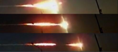 Chelyabinsk meteor triple discharge