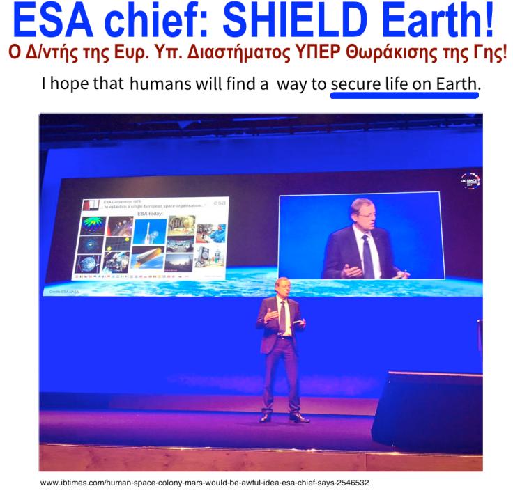 ESA chief SECURE life on Earth 5-2017ee