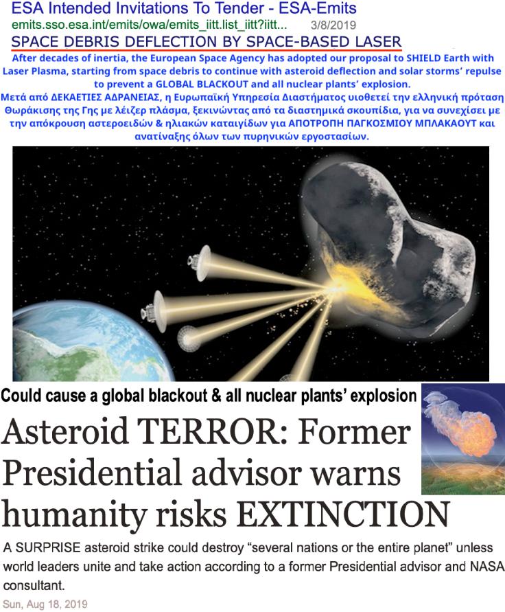 ESA LaserPlasma sat bees DEFLECTION debris 7-2019-McKinnon ene